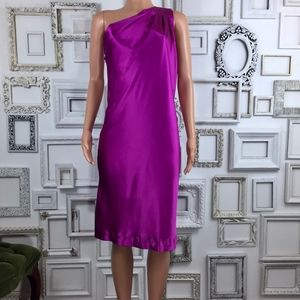 Banana Republic | Fushcia Silk One Shoulder Dress